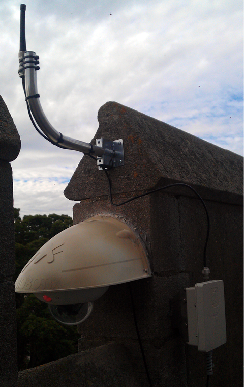 wifi connected cctv camera and access point installation on church steeple providing cctv coverage of church roof in stevenage hertfordshire herts