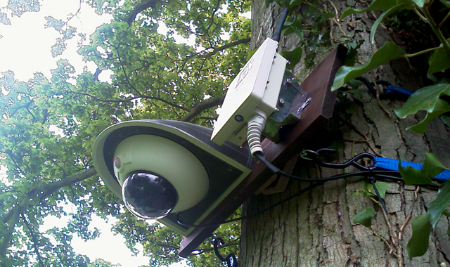 wireless cctv camera and WIFI access point installed on tree in church graveyard to give cctv coverage to prevent new lead roof being stolen after old lead roof was stolen stevenage hertfordshire